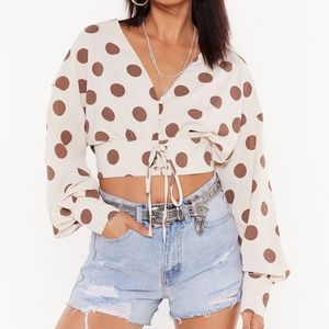 "NastyGal "" Hot Spot"" cropped blouse NWT sz 2"